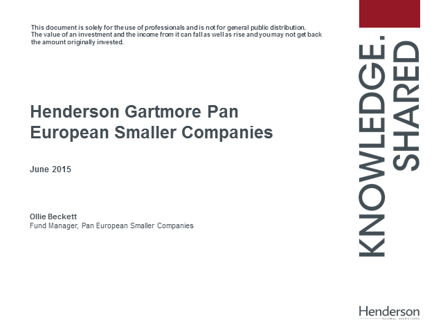Henderson Gartmore Pan European Smaller Companies Fund update