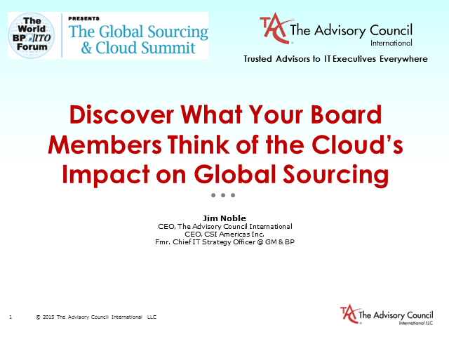 Discover What Your Board Members Think of the Cloud's Impact on Global Sourcing