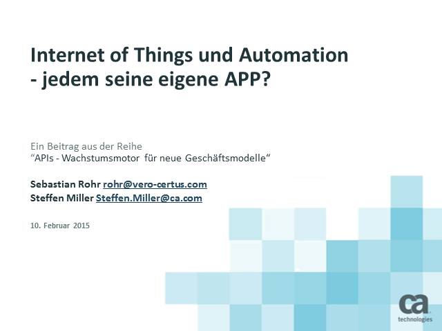 Internet of Things und Automation - jedem seine eigene APP?