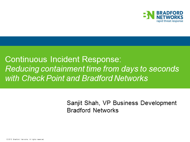 Securing Compromised Endpoints in Seconds with Check Point and Bradford Networks