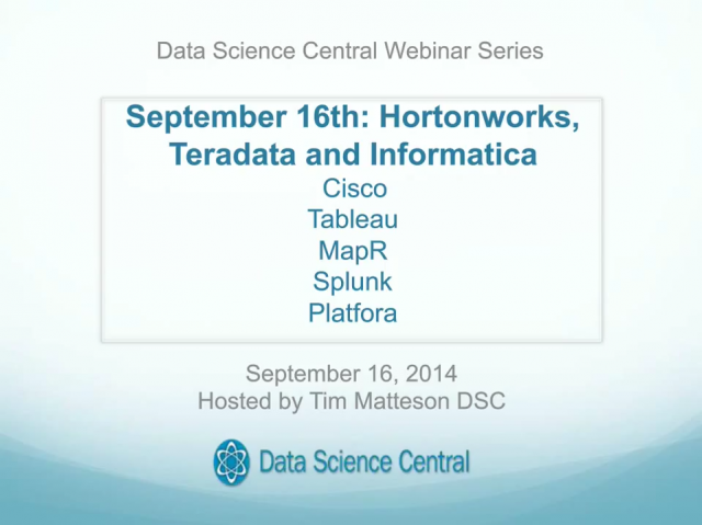 Informatica, Teradata and Hortonworks: Further Optimize Data Processing