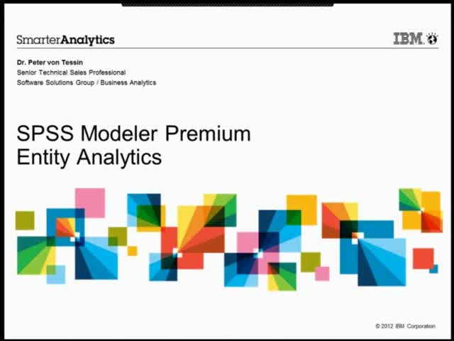 IBM SPSS Modeler Entity Analytics