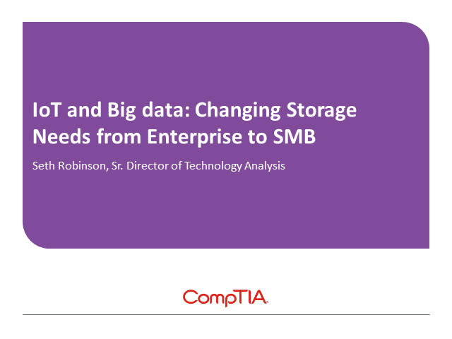 IoT and Big Data: Changing Storage Needs from Enterprise to SMB