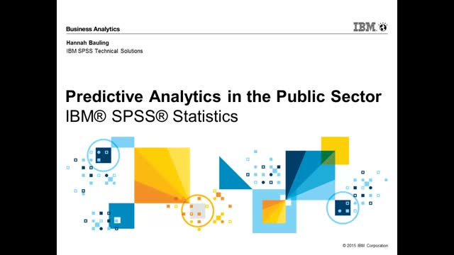 Predictive Analytics in Public Sector