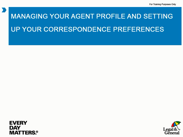 OLPC: Managing your agent profile and setting up your correspondence preferences