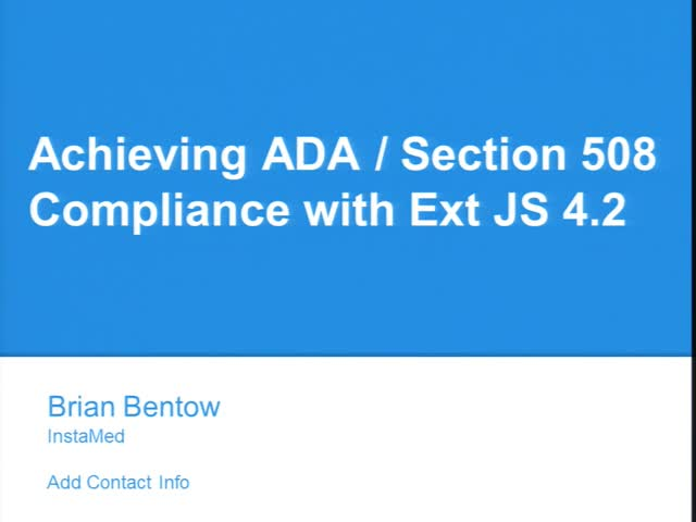 Achieving ADA/Section 508 Compliance with Ext JS 4.2