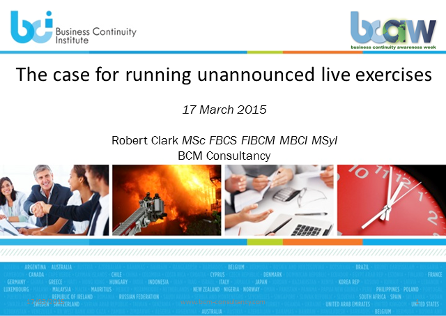 BCI webinar: The case for running unannounced live exercises