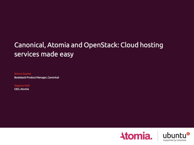 Canonical, Atomia and OpenStack: Cloud hosting services made easy