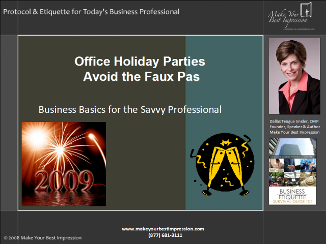 Six etiquette rules to avoid office holiday party faux pas