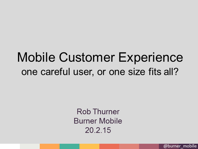 Mobile Customer Experience - One Careful User, or one size fits all?
