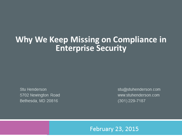Why We Keep Missing on Compliance in Enterprise Security