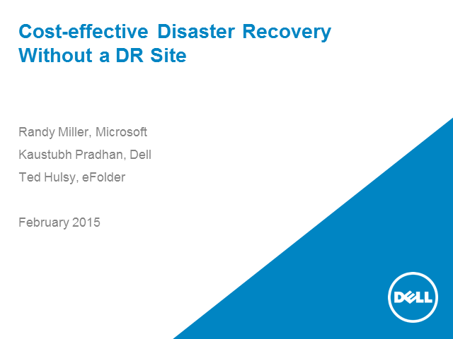 Cost-effective Disaster Recovery Without a DR Site