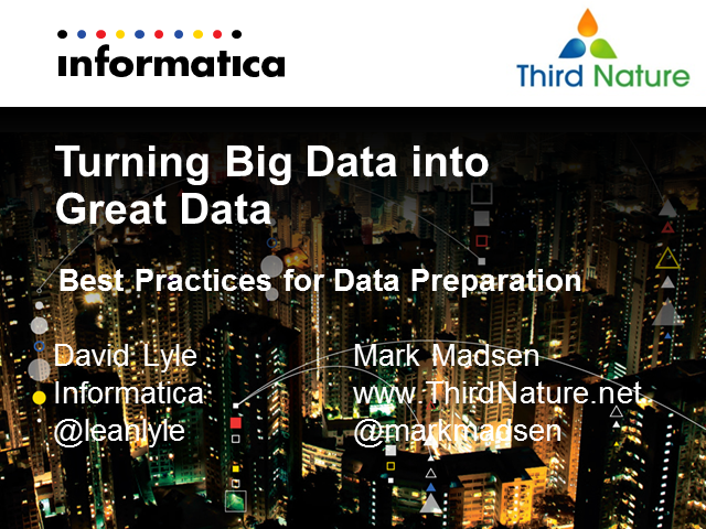 Turning Big Data into Great Data: Best Practices for Data Preparation