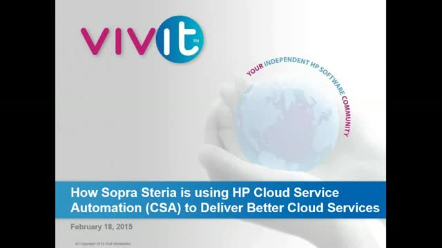 How Sopra Steria is using HP Cloud Service Automation (CSA) to Deliver Better Cl