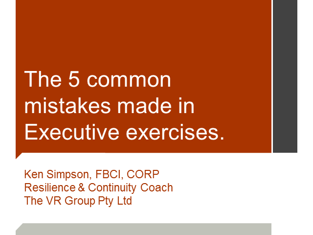 BCI webinar: The 5 common mistakes made in Executive Exercises