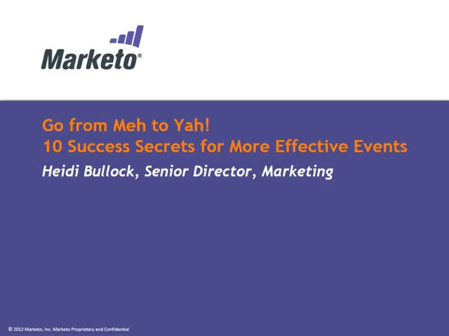 Go from Meh to Yah! 10 Success Secrets for More Effective Events