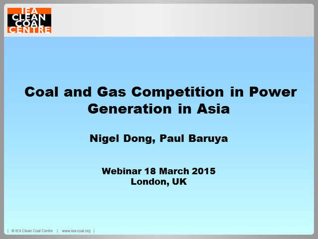 Coal and gas competition in power generation in Asia