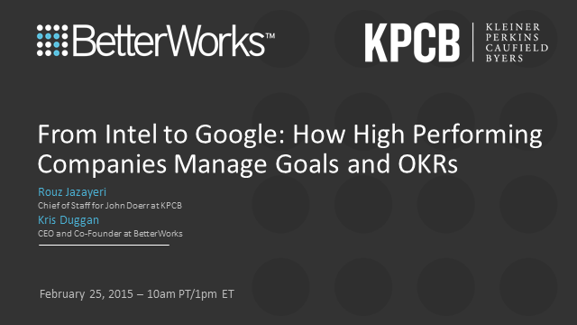 From Intel to Google: How High Performing Companies Manage Goals and OKRs