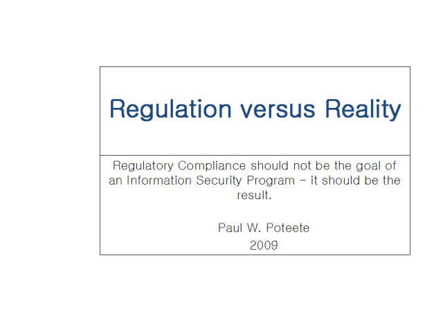 Regulation vs Reality