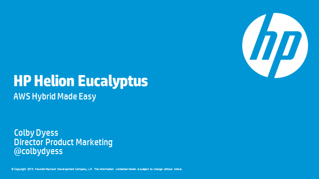Introduction to HP Helion Eucalyptus