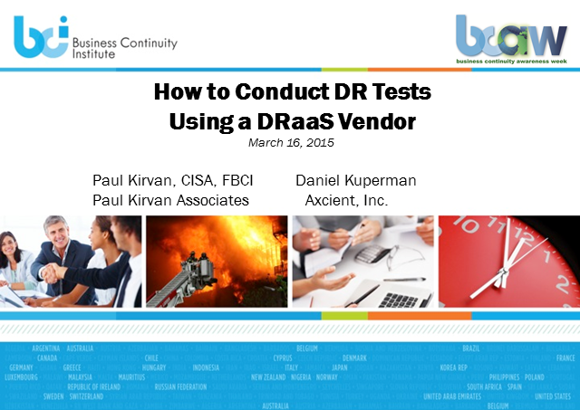 BCI webinar: How to effectively conduct DR tests using a DRaaS vendor