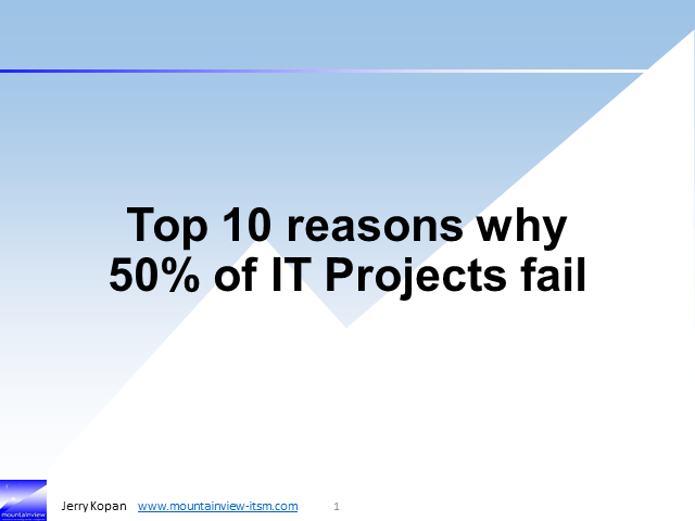 Top 10 reasons why 50% of IT Projects fail