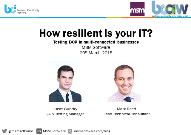 BCI webinar: How resilient is your IT? Testing BCP in multi-connected businesses