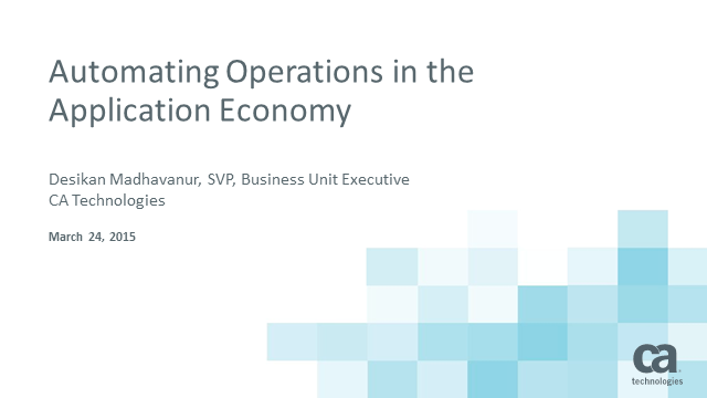 Automating Operations for the Application Economy