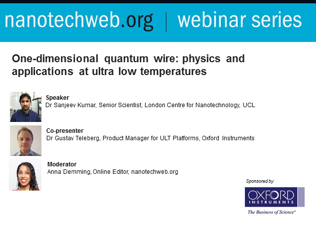 One-dimensional quantum wire: physics and applications at ultra low temperatures