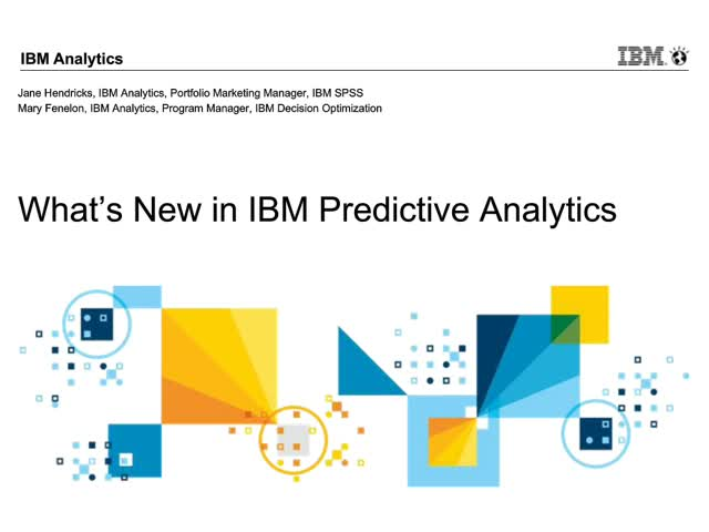 What's New in IBM Predictive Analytics