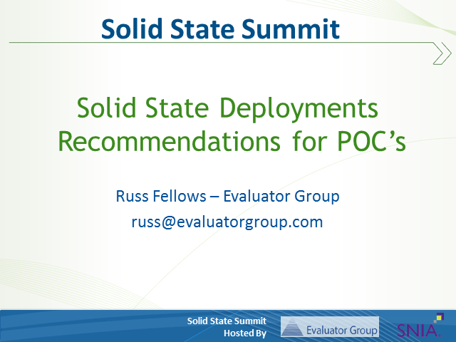 Developing a POC Plan for Solid State Systems