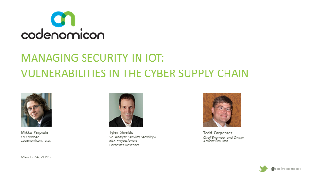Managing Security in IoT: Vulnerabilities in the Cyber Supply Chain