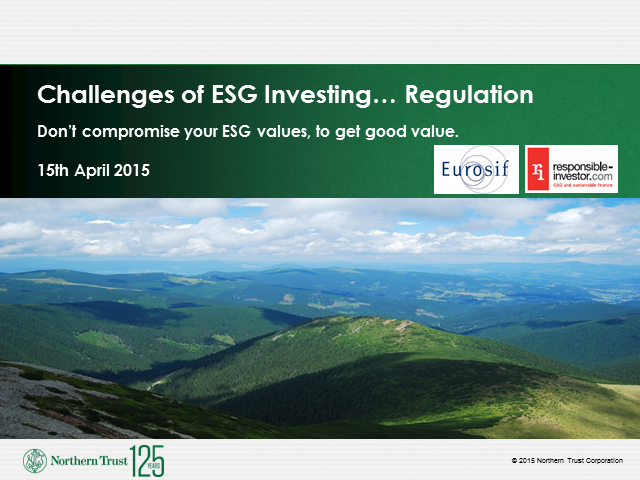 Challenges of ESG Investing...Regulation