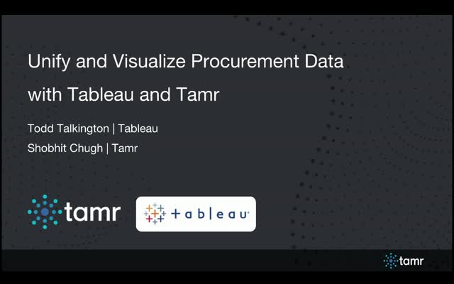 Unify & Visualize Procurement Data With Tamr & Tableau