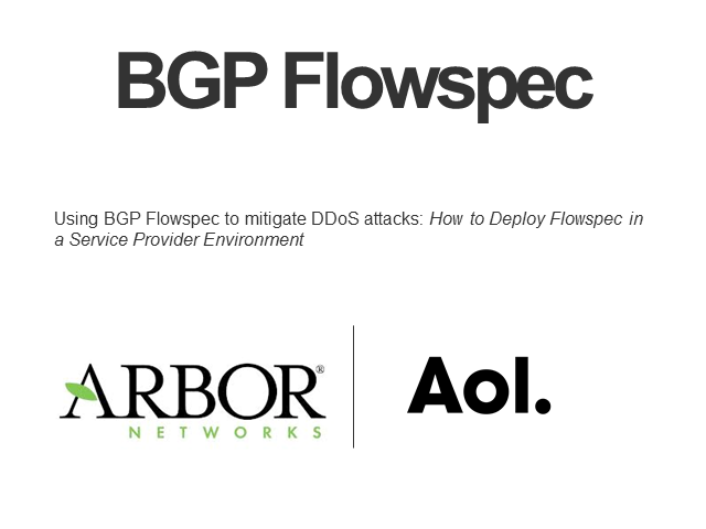 Deploying Flowspec in a Service Provider Environment