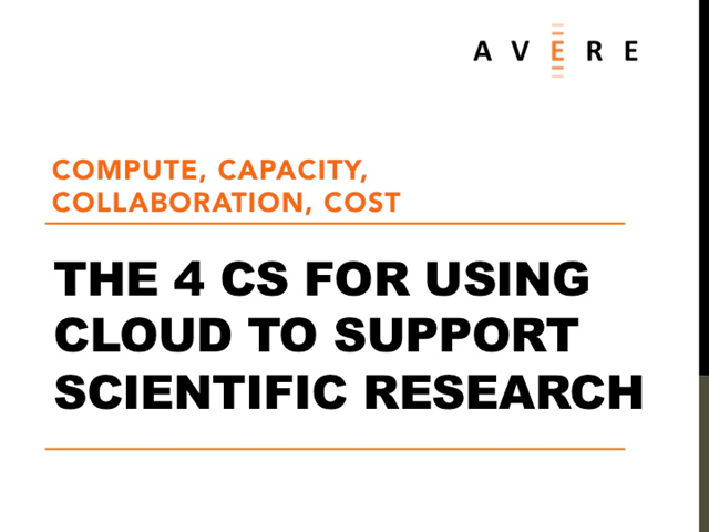 The 4 C's for Using Cloud to Support Scientific Research