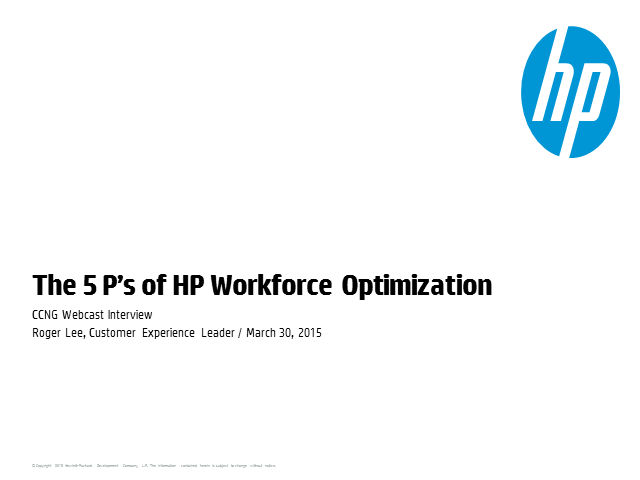 The 5 P's of HP Workforce Optimization