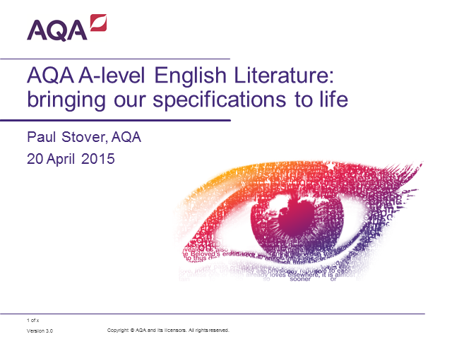 AQA AS and A-level English Literature: bringing our specifications to life