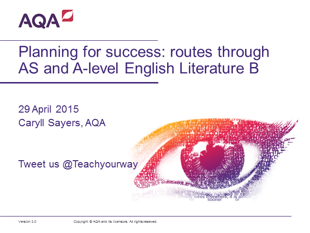 Planning for success: routes through AQA AS and A-level English Literature B