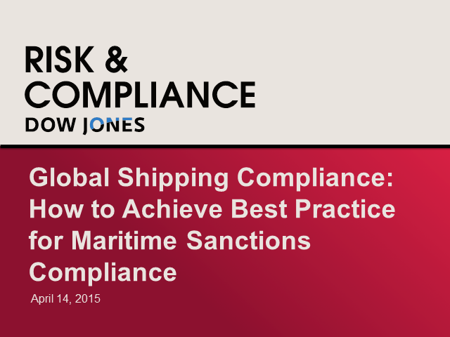 How to Achieve Best Practice for Global Maritime Sanctions Compliance