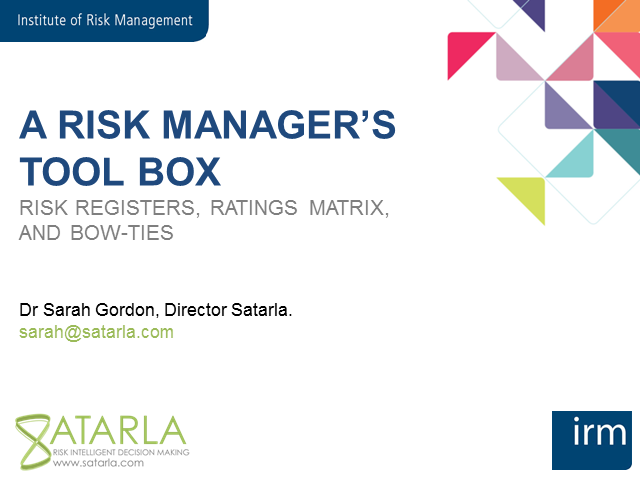 The risk toolbox:  registers, matrix and bow-ties