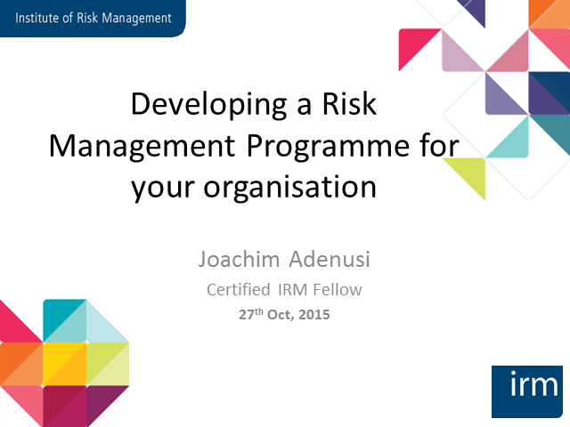 Developing a Risk Management Programme for your Organisation