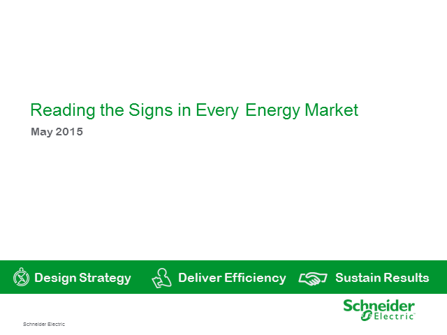 Energy Markets have fallen but beware of cost savings