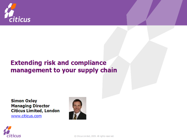 Extending risk and compliance management to your supply chain