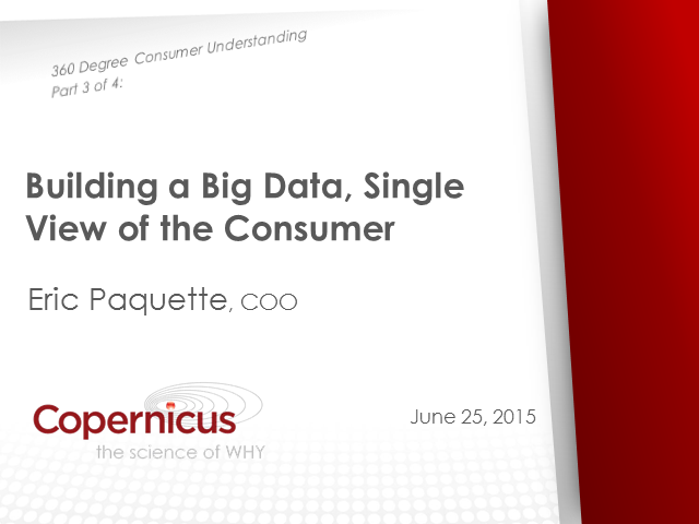 Building a Big Data, Single View of the Consumer