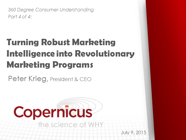 Turning Robust Marketing Intelligence into Revolutionary Marketing Programs