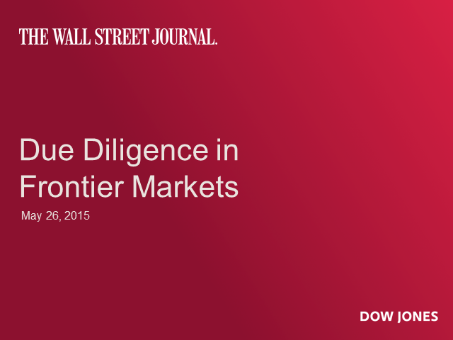 Due Diligence in Frontier Markets