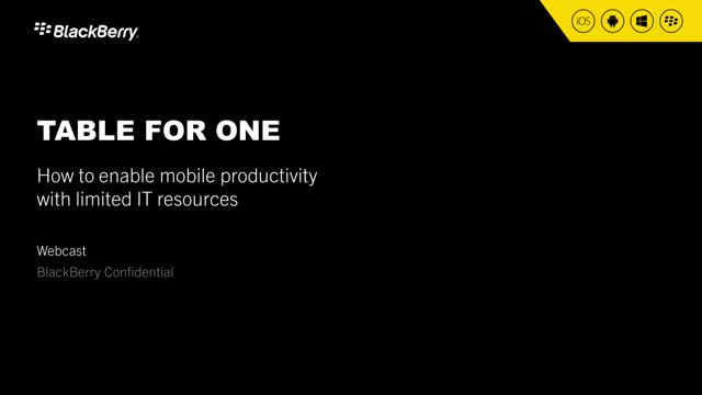 Table for One - How to enable mobile productivity with limited IT resources