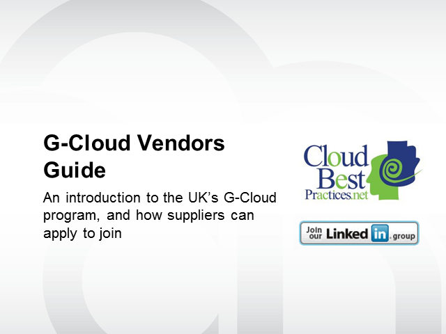 G-Cloud 7 Vendors Guide