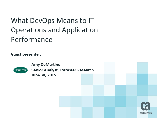 What DevOps means to IT Operations and Application Performance